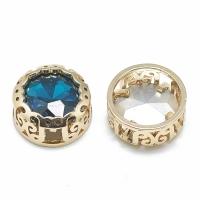Кристалл в оправе Вензель Золото, форма Круг, 12мм, Capri Blue