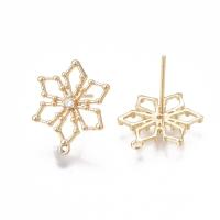 Пуссеты Цветок-Снежинка с 1 фианитом; цвет золото