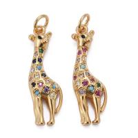 Подвеска Жираф с цветными фианитами; цвет золото