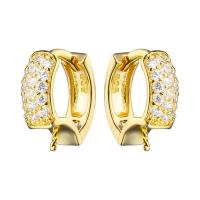 Швензы Круг mini с фианитами, для вклейки полупросверленных бусин, цвет золото