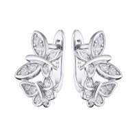 Швензы 2 бабочки с фианитами; цвет платина