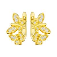 Швензы 2 бабочки с фианитами; цвет золото