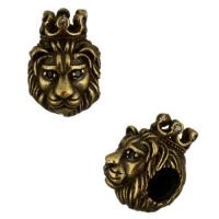 Античная Бусина Лев с короной, цвет бронзовый