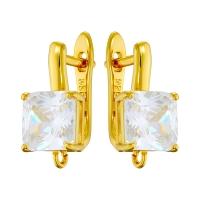 Швензы Фианит-Квадрат, цвет золото