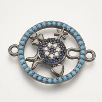 Коннектор Круг-символы 23*18 с голубыми фианитами, цвет чёрный