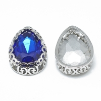Кристалл в оправе Вензель Платина, форма Капля,16*12мм, Sapphire