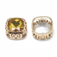 Кристалл в оправе Вензель Золото, форма Квадрат,12мм, Topaz