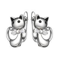 Швензы Кошка с фианитами, цвет платина