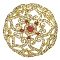 Бусина-Коннектор цветок+6малиновых фианитов, цвет золото