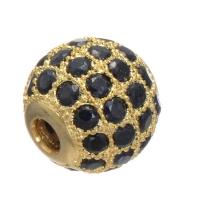 Шар с чёрными Фианитами, 8мм, Цвет золото