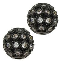 Шар ажурное плетение с Прозрачными Фианитами, 10мм, цвет чёрный