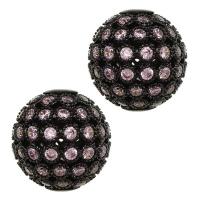 Шар ажурное плетение с РОЗОВЫМИ Фианитами, 8мм цвет чёрный