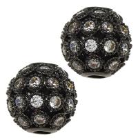 Шар ажурное плетение с Прозрачными Фианитами, 8мм цвет чёрный