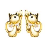Швензы Кошка с фианитами, цвет золото