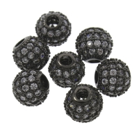 Шар чёрный с прозрачными Фианитами, 8мм