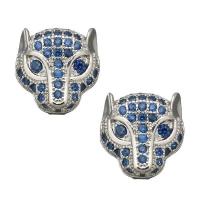 Гепард с Синими Фианитами, цвет платина