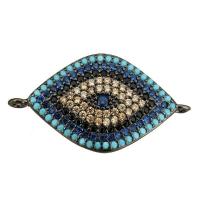 Коннектор Глаз с голубыми фианитами, цвет чёрный
