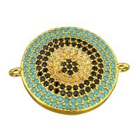Коннектор Большой Круг Чёрные и Голубые фианиты, 19мм, цвет золото