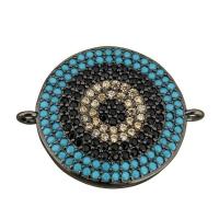 Коннектор Большой Круг Чёрные и Голубые фианиты, 19мм, цвет чёрный