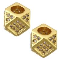 Бусина Квадрат многогранный, цвет золото