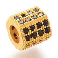 Шайба 6-ти гранная 8*7мм, цвет золото с Чёрными фианитами