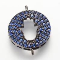 Коннектор Хамса в круге с Синими фианитами, цвет чёрный