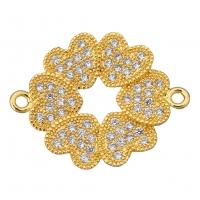 Коннектор 6 сердец, цвет золото