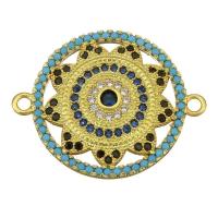 Коннектор Солнце с голубыми фианитами, цвет золото