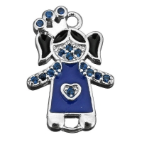 Коннектор Принцесса с синей Эмалью; цвет платина