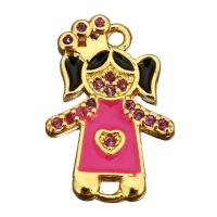 Коннектор Принцесса с малиновой Эмалью; цвет золото