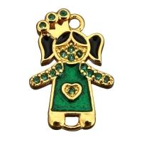 Коннектор Принцесса с зеленой Эмалью; цвет золото