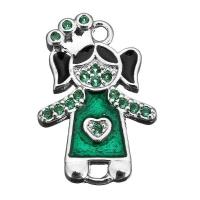 Коннектор Принцесса с зеленой Эмалью; цвет платина