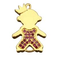 Коннектор Принц 19мм, Малиновые Фианиты; цвет золото