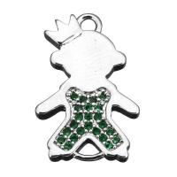 Коннектор Принц 19мм, Зеленые Фианиты,БЕЗ чернения; цвет платина