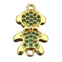 Коннектор Мальчик с бантиком, Зеленые фианиты, цвет золото