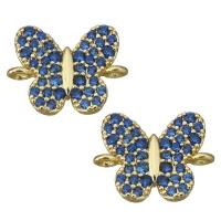 Коннектор Бабочка с синими фианитами, цвет золото