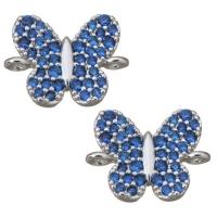 Коннектор Бабочка с синими фианитами, цвет платина