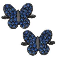 Коннектор Бабочка с синими фианитами, цвет чёрный