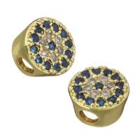 Бусина круглая с синими Фианитами, цвет золото