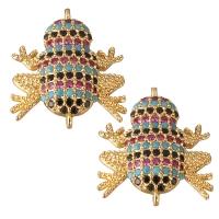 Коннектор Лягушка Малиновые/чёрные/голубые фианиты, цвет золото