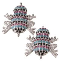 Коннектор Лягушка Малиновые/чёрные/голубые фианиты, цвет платина