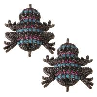 Коннектор Лягушка Малиновые/чёрные/голубые фианиты, цвет чёрный