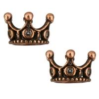 Античная Бусина Корона с фианитами, цвет медный