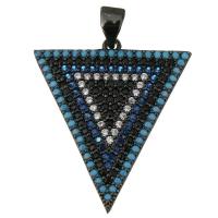 Подвеска Треугольник с чёрными и голубыми фианитами, цвет чёрный