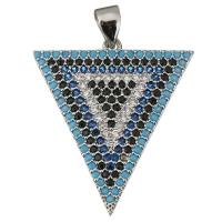 Подвеска Треугольник с чёрными и голубыми фианитами, цвет платина