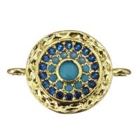 Коннектор с синими и голубыми фианитами; цвет золото