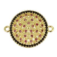Коннектор Цветок 25*19мм, с малиновыми и чёрными фианитами, цвет золото