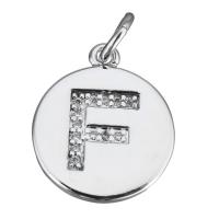Подвеска Буква F, медальон, цвет платина