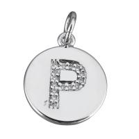 Подвеска Буква P, медальон, цвет платина