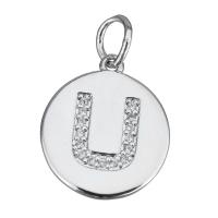Подвеска Буква U, медальон,  цвет платина